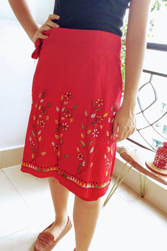 Red Floral Kantha Work Mini Wrap Skirt - Arteastri