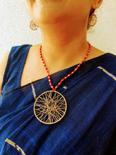 Load image into Gallery viewer, Red Round Jaali Tribal Pendant Set - Arteastri