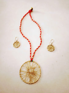 Red Round Jaali Tribal Pendant Set - Arteastri