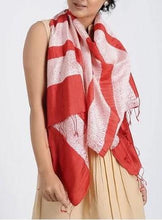 Load image into Gallery viewer, Red Striped Woven Shibori Handcrafted Silk Stole - Arteastri