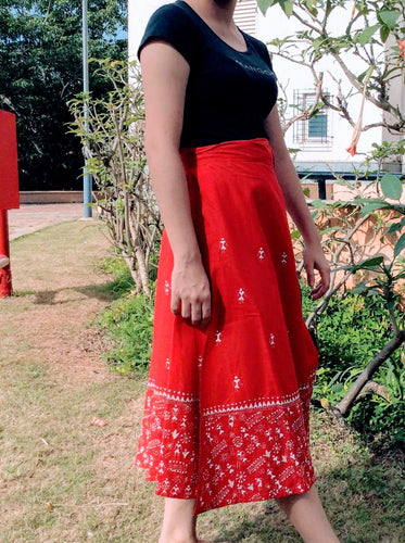 Red Worli Kantha work Midi Wrap Skirt - Arteastri