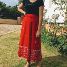 Load image into Gallery viewer, Red Worli Kantha work Midi Wrap Skirt - Arteastri