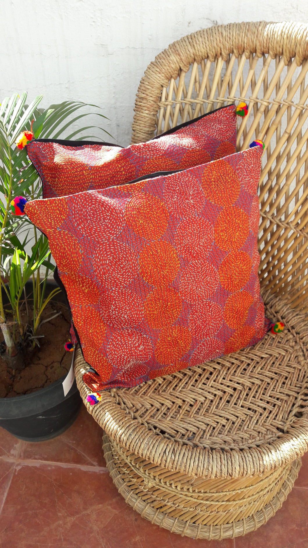 Rust  Vintage Silk Kanthawork Cushion Cover - Arteastri
