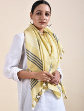 Load image into Gallery viewer, Sage Green Cotton Linen Handloom Stole - Arteastri