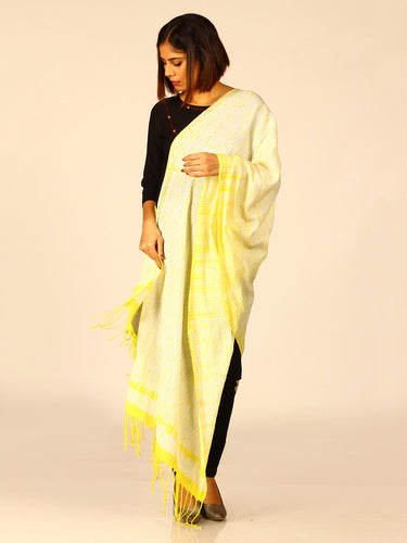 Smart Yellow Woven Shibori Cotton Dupatta - Arteastri