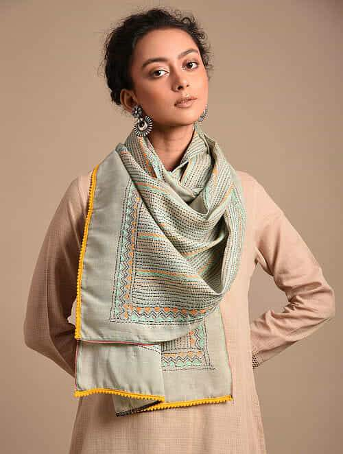 Soothing Sage Green Yellow Cotton Kantha Stole - Arteastri