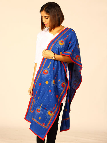 Stunning Blue Red Cotton Kantha Stole - Arteastri