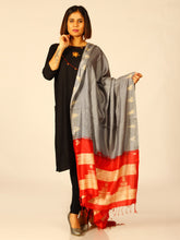 Load image into Gallery viewer, Stunning Handloom Grey Red Shibori Silk Dupatta - Arteastri