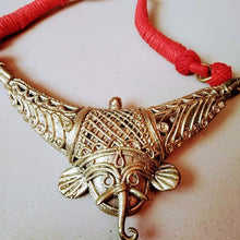 Load image into Gallery viewer, Stunning Handmade Red Ganesh Dokra Hasuli - Arteastri