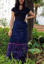Load image into Gallery viewer, Stunning Navy Pink Hand Kantha Wrap Skirt - Arteastri