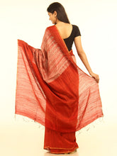 Load image into Gallery viewer, Stunning Red Handloom Shibori Tussar Silk Saree - Arteastri