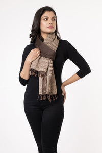 Stylish Brown Ivory Handloom Shibori Wool Stole STOLES AND SCARVES Arteastri