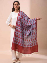 Load image into Gallery viewer, Stylish Grey Red Shibori Silk Dupatta Dupatta Arteastri