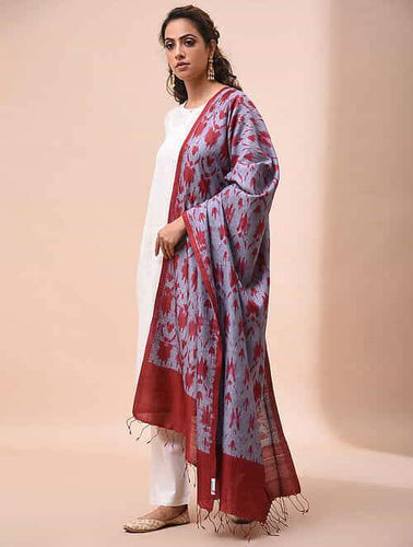Stylish Grey Red Shibori Silk Dupatta Dupatta Arteastri
