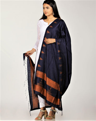 Stylish Indigo Orange Shibori Silk Dupatta - Arteastri