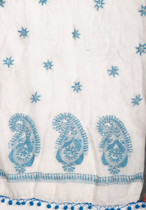 Stylish Kantha Stole- Beautiful Ivory White Firozi Chanderi Silk Kantha Stole STOLES AND SCARVES Arteastri
