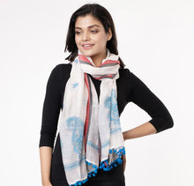 Load image into Gallery viewer, Stylish Kantha Stole- Beautiful Ivory White Firozi Chanderi Silk Kantha Stole STOLES AND SCARVES Arteastri