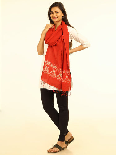 Stylish Red Woven Shibori Cotton Stole - Arteastri