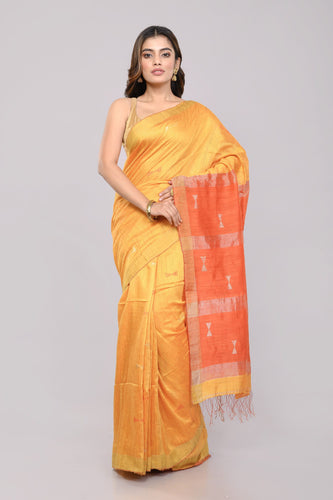 Stylish Yellow Orange Handloom Matka Silk Jamdani Saree - Arteastri
