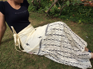 White Cotton Hand-embroidered Adult Wrap Skirt - Arteastri