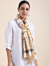 Load image into Gallery viewer, Yellow Black Woven  Checked Cotton Jamdani Stole - Arteastri