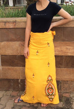Load image into Gallery viewer, Yellow Cotton Kantha Work Adult Wrap Skirt - Arteastri