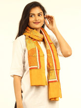 Load image into Gallery viewer, Yellow Floral Kantha Embroidered Silk Stole - Arteastri