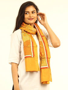 Yellow Floral Kantha Embroidered Silk Stole - Arteastri