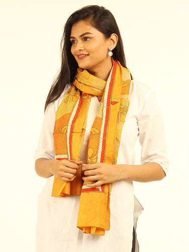 Yellow Floral Kantha Embroidered Silk Stole STOLES AND SCARVES Arteastri