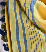 Load image into Gallery viewer, Yellow Green Cotton Linen Handloom Striped Stole with Tassles - Arteastri
