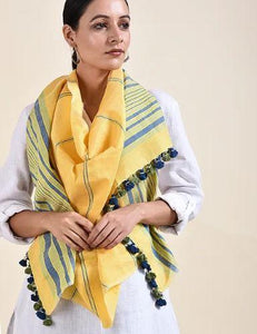 Yellow Green Cotton Linen Handloom Striped Stole with Tassles - Arteastri