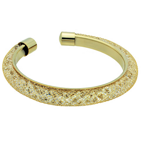 Crystals Wrapped in Net Bracelet, Gold Plated Mesh Bracelet - TZARO Jewelry - 1