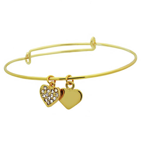 Adjustable Bracelet, 14K Gold Plated Two Hearts Bracelet - TZARO Jewelry - 1