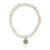 Simple Freshwater Cultured Pearl Stretch Bracelet, CZ Rhinestone Disc, Bridal Jewelry - TZARO Jewelry - 1