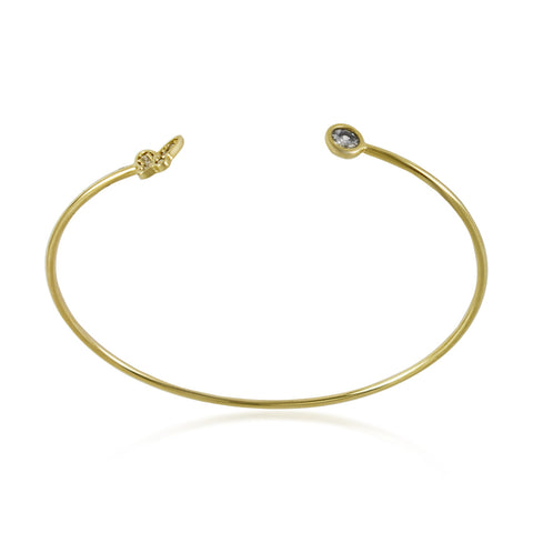 Adjustable Tiny Butterfly Bracelet, CZ Crystals Expandable Gold Plated Bangle - TZARO Jewelry - 1