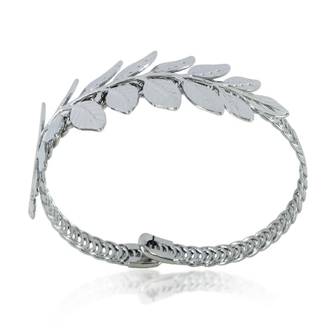 Adjustable Leaf Bracelet, Leaf Bangle, Branch Bangle Bracelet, Silver Plated Bracelet - TZARO Jewelry - 1