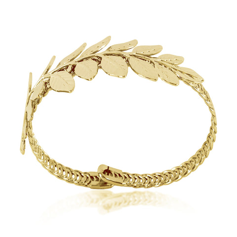 Adjustable Leaf Bracelet, Leaf Bangle, Branch Bangle Bracelet, Gold Plated Bracelet - TZARO Jewelry - 1