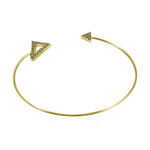 Double CZ Triangle Bangle Bracelet, Gold Plated Spike Bracelet, Triangle Bracelet - TZARO Jewelry - 1