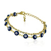 Evil Eyes Gold Plated Chain Bracelet, Evil Eye Blue Glass, Blue Eye Bracelet - TZARO Jewelry - 1