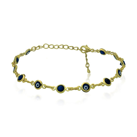 Evil Eyes Bracelet, Gold Plated Chain Bracelet, Evil Eye Black Glass - TZARO Jewelry - 1