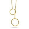 Gold Circle Lariat Necklace,14K Gold Plated Double Circle Necklace, Minimal Layered Necklace - TZARO Jewelry - 1