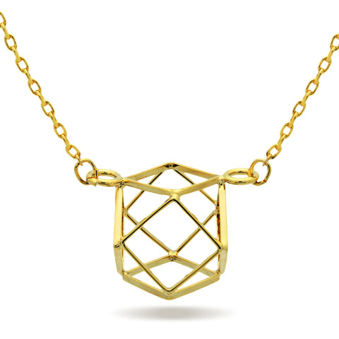 Cube Necklace,14K Gold Plated Geometric Square Necklace, Hexagon Necklace - TZARO Jewelry - 1