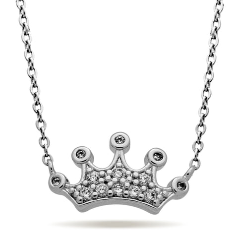 Crown Necklace, Silver Plated Princess Necklace, Modern Minimalist Crown Jewelry - TZARO Jewelry - 1