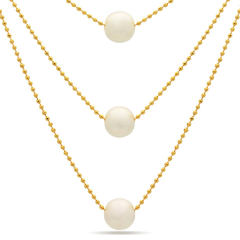 Three Pearl Dainty Necklace,14K Gold Plater Bridal Layered Pearl Necklace - TZARO Jewelry - 1
