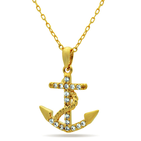 Anchor Necklace, 14K Gold Plated Dainty Anchor Necklace, Tiny Gold Anchor Charm - TZARO Jewelry - 1