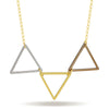Triangle Stack Necklace, 14K Gold Plated Triple Triangle Necklace, Geometric Necklace - TZARO Jewelry - 1