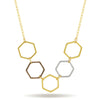 Honeycomb Necklace, 14K Gold Plated Hexagon Necklace, Modern Geometric Necklace - TZARO Jewelry - 1