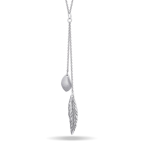 Feather and Leaf Necklace, Silver Plated Double Necklace, Layered Necklace - TZARO Jewelry - 1