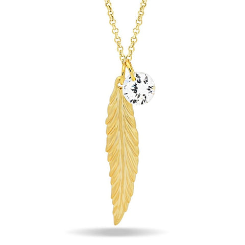 Feather Necklace, 14K Gold Plated Feather and Birthstone Necklace, Elegant Necklace - TZARO Jewelry - 1