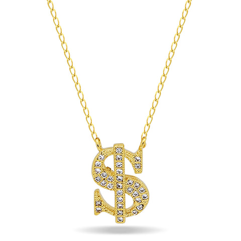 Dollar Sign Necklace,14K Gold Plated Dainty Gold Necklace, Dainty Delicate Necklace - TZARO Jewelry - 1